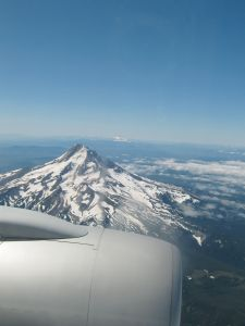 Mt Hood and Mt Jefferson taken from the plane