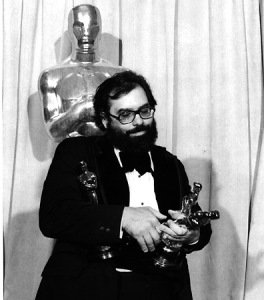 Francis Ford Coppola with his three Oscars from The Godfather Part II (1974)