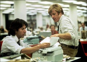 Dustin Hoffman and Robert Redford as Bernstein and Woodward in All the President's Men (1976)