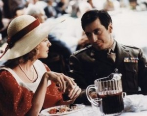 Michael Corleone (Al Pacino) explains to his girlfriend Kay (Diane Keaton) what his father does for a living in Coppola's The Godfather (1972)