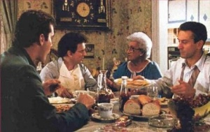 Ray Liotta, Oscar winner Joe Pesci, Catherine Scorsese (Marty's mother) and Robert De Niro in what is widely considered (including by me) to be the best film of the 90's: Martin Scorsese's GoodFellas (1990)