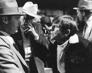 Jack Nicholson and John Huston being directed by Roman Polanski on the set of Chinatown (1974)