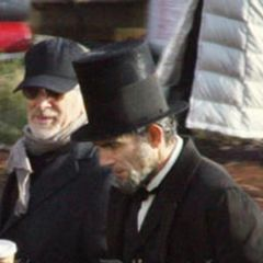 Steven Spielberg working with Daniel Day-Lewis on the set of Lincoln (2012)
